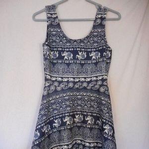 Blue white Elephant Indian Print sleeveless dress